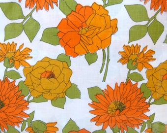 Orange and green flower VONY cotton fabric king size bed flat sheet - NOS in original packaging - French 70s vintage