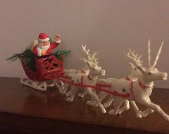 Vintage Christmas Santa in Sleigh with Four White Reindeer Plastic