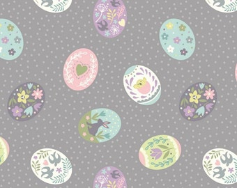 Lewis & Irene Salisbury Spring Patchwork Quilting Fabric A208.3 Painted eggs on grey