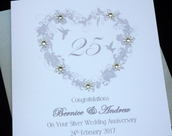 Silver / 25th Wedding Anniversary personalised card