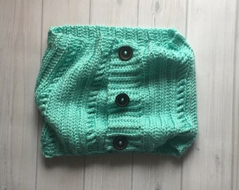 Robins Egg Blue Button Cowl Scarf