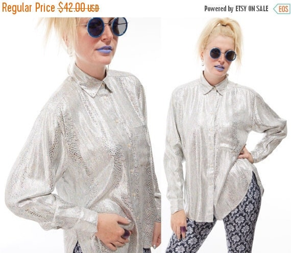 Vtg 80s 90s SILVER METALLIC BLOUSE Top Futuristic Goth Industrial New Wave Club Kid Retro Psychedelic Hologram Iridescent Disco Python Snake