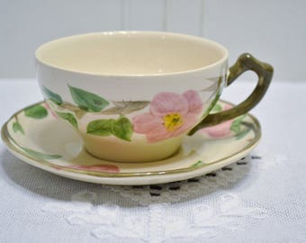 Vintage Franciscan Desert Rose Cup and Saucer Pink Floral England PanchosPorch