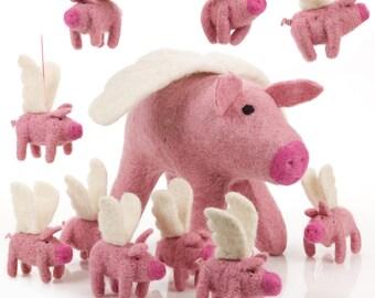 Big Flying Pig - Felt animals-Needle felt-Wool felt-Easter decorations-Baby shower-Merino wool-Ethical-Handmade - Farmyard