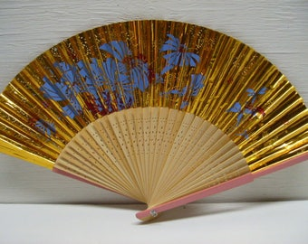 Asian Hand Painted Gold Design Hand Held Folding Fan # 39