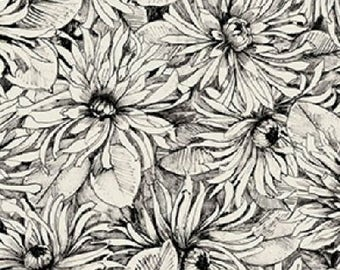 Benartex fabric Michele D'Amore Designs Bellissimo 3976 black white floral flowers 100% Cotton Fabric Sewing Quilting by the yard
