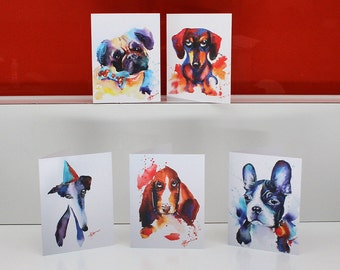 Set of 5 original watercolour doggy cards - Greyhound, Pug, Boston Terrier, Dachshund, Basset Hound Watercolor Greeting Gift Cards