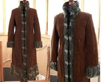 Vintage woman's winter coat, lady's coat. suede, real leather, russian coat, long warm coat