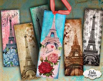 Paris bookmarks, printable bookmarks, digital tags, printable stickers, digital collage sheet, paris printable, paris tags, gift tags