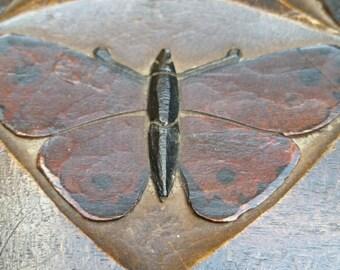 Lovely Antique Handmade Wooden Box from Oberammergau. Moths, Butterflies.