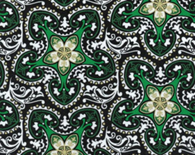 Half Yard Deck the Halls - Christmas Stars Green with Metallic Accents - Christmas Cotton Quilt Fabric - Benartex Fabrics -6453M-40 (W3484)