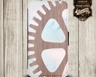 """Handytasche, Leather Wallet Phone Case  iPhone & Samsung,Sony Xperia """" Wood/Marmor digital"""""""
