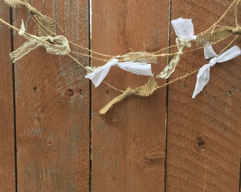 Rustic Shabby Chic Burlap and Lace Garland Isle Runner Wedding Decoration