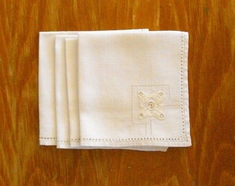 Vintage White Napkins with Embroidery and Cutwork, Set of Four