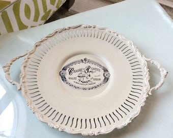 Chalk Painted Silver - Painted Silver Tray - Versailles Chalk Painted Round Tray