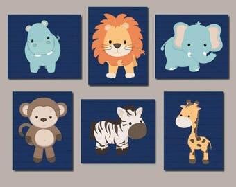 Zoo Animal Nursery Art, Jungle Animals, Safari Animals, Animal Nursery Prints, Nursery Wall Art, Boy Nursery Art, Set of 6 Prints Or Canvas
