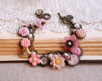Garden bracelet pink flower bracelet Crystal cabochon heart locket Cha Cha bracelet Charms bracelet