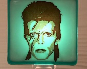 David Bowie Night Light Fused Glass
