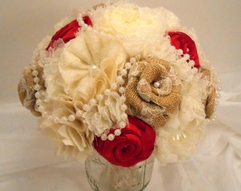Burlap Wedding Bouquet, Bridal Bouquet, Vintage Bouquet, Shabby Chic Bouquet, Burlap Bouquet, Pearls. Red Bouquet, Burlap and Lace Bouquet