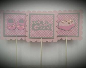 BABY CENTERPIECE STICKS - Baby Girl Centerpiece Sticks - Baby Shower Decoration - Sticks Set of 3