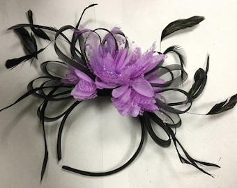 Black Hoop & Lilac Purple Feathers Fascinator On Headband