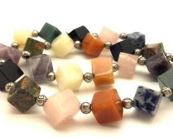 "Necklace Vintage Multi Stones Genuine Cubes Shape Beads Elegant Women Handmade Long 22.0"""