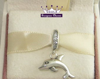 Sale! 100% Sterling Silver Charm European bead Playful Dolphin fits Pandora Charm bracelet and to all European Bracelets