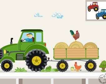 "Wall Decal ""Tractor trailer MIDI"" nursery Baby Room Wall Stickers Wall Decals farmer farm"