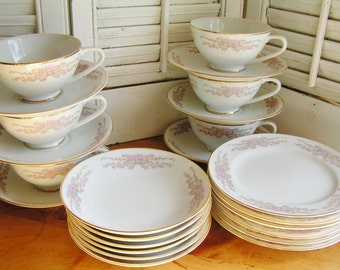 Vintage 24 Piece Set Mid Century Fine Bone China Bordeaux Japan Luncheon Set for 6 White Pink Floral with Gold Trim Pink Roses Tea Party