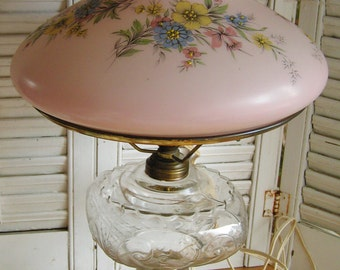 Vintage Clear Pressed Glass Oil Lamp Converted To Electric Lamp with Pink Floral Shade Cottage Chic