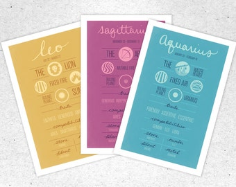 ANY 3 Zodiac Posters + Free Shipping. Holiday Sale, discount, deal. Astrology Package, Set. Zodiac Prints.