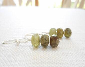 Green Garnet Earrings, Sterling Silver Genuine Gemstone Jewelry, Ombre Earrings, Green Stone Beaded Drop Earrings, Dangle Earrings