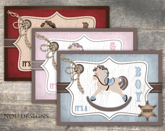 Cowboy or Cowgirl Western Themed Baby Shower Invitation Card Printable File