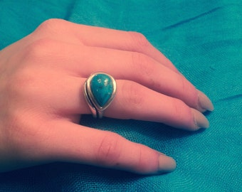Jewelry SALE: Vintage Solitaire Turquoise Ring - Turquoise Solitaire Ring - Vintage 925 Sterling Silver Turquoise Ring