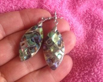 Abalone Shell Dangle Earrings - Oblong Abalone Shell Earrings - Abalone Earrings - Abalone Shell Earrings - Abalone Dangle Earrings