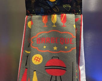 BBQ Towel, Grilling Towel, Barbeque Hanging Kitchen Towel, King of the Grill, Grilling, Hanging Kitchen Towel, Kitchen Towel, Decorative