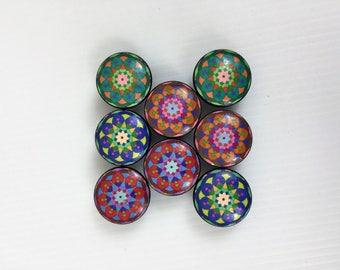 Set of 8 Flower Mandala Cabinet Knobs