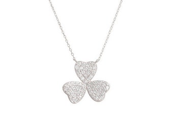 Sterling Silver Three Leaf Clover Necklace