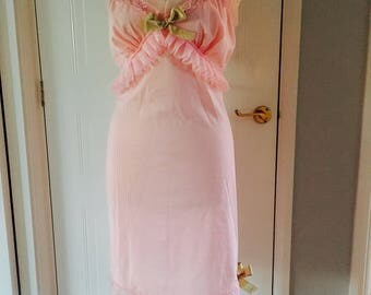 Baby pink and gold upcycled vintage slip size 14 ruffles