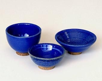 Bowl set, blue ceramic bowls, blue pottery bowlS, little bowls, handmade