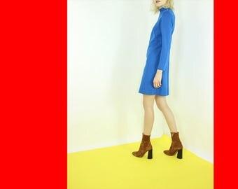 blue mod SHIFT dress solid blue long sleeve day dress XS S Med