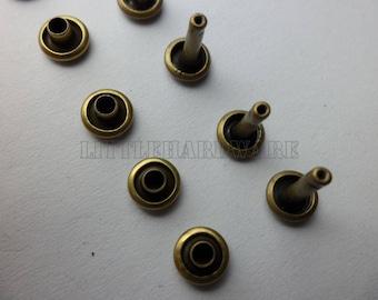 1000 Pcs Anti brass double cap rivets DOME 6mm Rapid Stud for bag purse jacket jean craft project