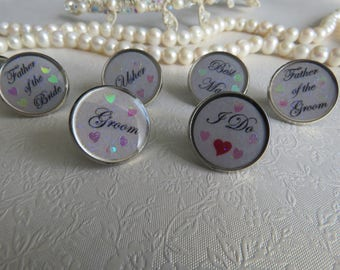 Wedding tie pin. Tie tack. Choose from groom, I do, best man, father of the bride, father of the groom, usher.