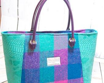 Genuine Harris Tweed Tote, Tote Bag, Faux Leather, Gift, Harris Tweed, Ladies Handbag, Luxury Handbag, Gift for her