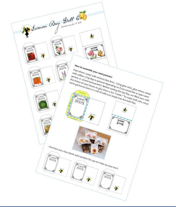 SEED PACKET PDF printable scaled for American Girl®, 18-inch Dolls.