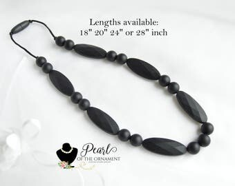 black marquise nursing necklace silicone necklace teething necklace teether necklace sensory necklace oval bite chew chewelry chewable mom