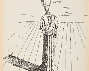 GIORGIO DE CHIRICO - original pen & ink drawing (Italian 1888-1978. Salvador Dali interest)