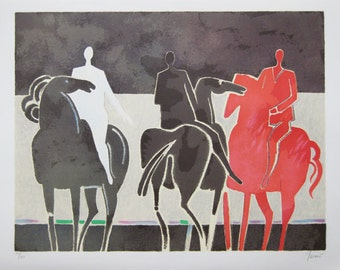 ALBERT ZAVARO - 'Les trois cavaliers' - hand signed & numbered lithograph - c1980s (edition of 180. Turkish 1925-)