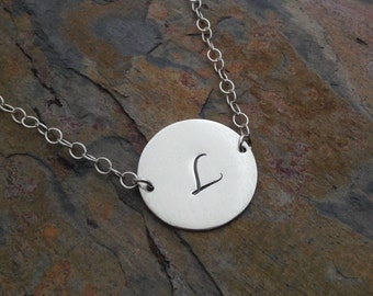 Sterling Silver .925 Hand Stamped Custom Initial Mother's Necklace