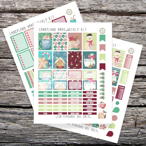 Candyland Christmas: Printable Planner Stickers for Erin Condren Vertical (PDF)